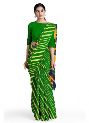 Radiant Green Abstract Print Faux Georgette Casual Saree