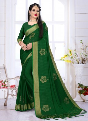 Radiant Green Festival Traditional Saree