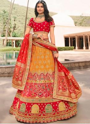 Radiant Orange and Red Banarasi Silk Trendy Lehenga Choli