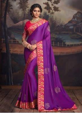 Radiant Purple Embroidered Traditional Saree