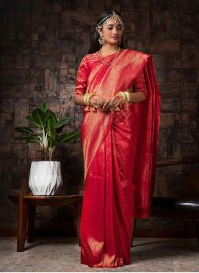 Radiant Raw Silk Red Traditional Saree