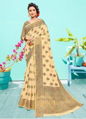 Radiant Silk Cream Weaving Designer Traditional Saree
