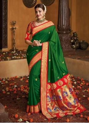 Radiant Silk Green Weaving Traditional Saree