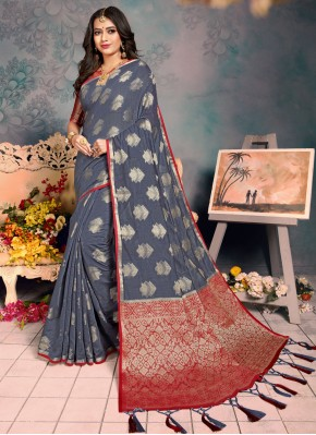 Radiant Silk Grey Weaving Trendy Saree
