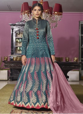 Rama Embroidered Festival Readymade Anarkali Suit