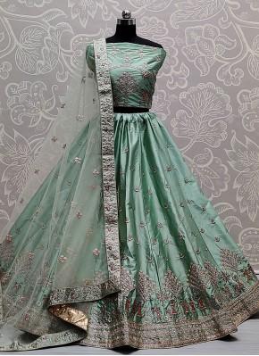 Rama Embroidered Silk A Line Lehenga Choli