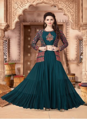 Rama Green Chiffon Indo Western Style Suit