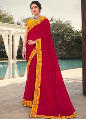 Rani Embroidered Faux Georgette Classic Designer Saree