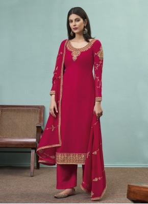 Rani Embroidered Faux Georgette Designer Pakistani Suit