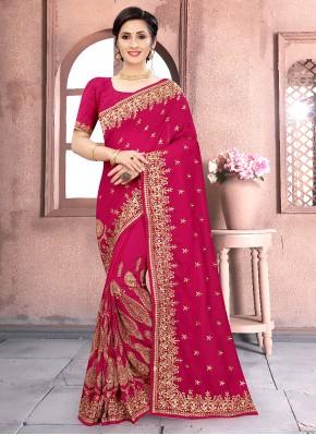Rani Embroidered Traditional Designer Saree