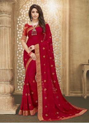 Rani Fancy Fabric Designer Saree