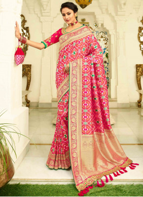 Rani Pink Banarasi Silk Traditional Woven Patola Saree with Golden Border and Pallu