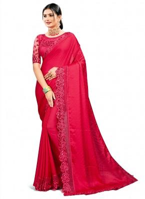 Rani Satin Silk Designer Saree