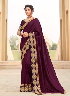 Rani Silk Embroidered Contemporary Saree