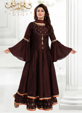 Ravishing Brown Thread Readymade Suit