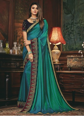 Ravishing Embroidered Rama Traditional Designer Saree