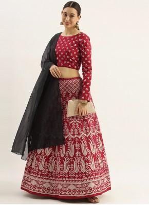 Ravishing Fancy Raw Silk Maroon Lehenga Choli