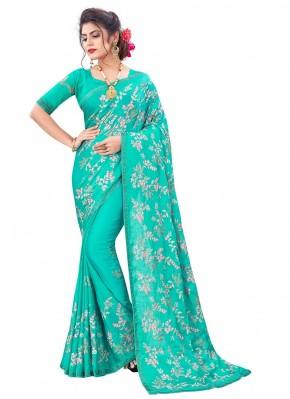 Ravishing Faux Chiffon Sea Green Embroidered Traditional Designer Saree