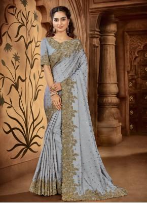 Ravishing Grey Trendy Saree