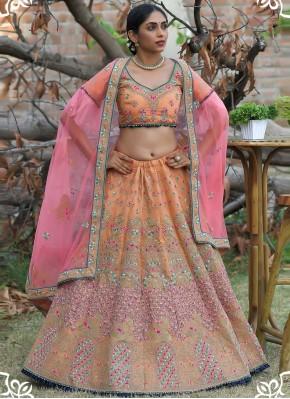 Ravishing Pashnima Silk Orange Embroidered Lehenga Choli