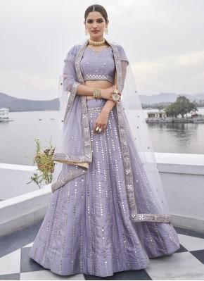 Ravishing Silk Mirror Lavender Designer Lehenga Choli