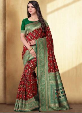 Ravishing Weaving Red Silk Saree