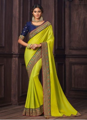 Ravishing Yellow Silk Designer Traditional Saree