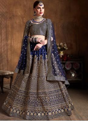 Raw Silk Blue Lace Lehenga Choli