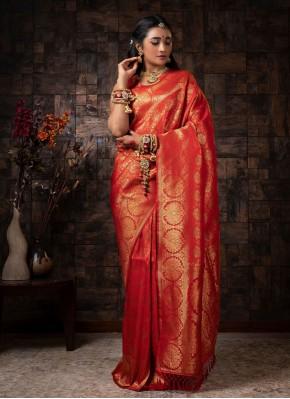 Raw Silk Fancy Red Traditional Designer Saree