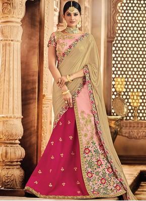 Raw Silk Lace Lehenga Choli in Pink