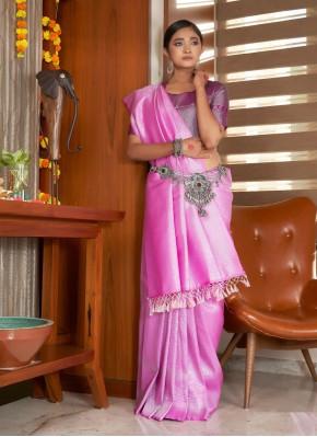 Raw Silk Pink Weaving Traditional Saree
