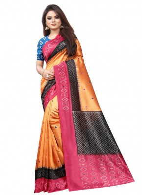 Raw Silk Traditional Saree in Orange