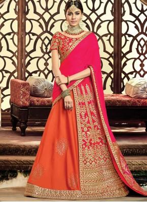 Raw Silk Zari Hot Pink and Orange Lehenga Choli
