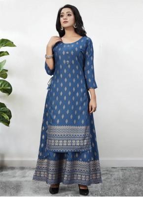 Rayon Foil Print Blue Party Wear Kurti