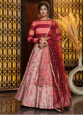Rayon Foil Print Trendy Lehenga Choli in Pink