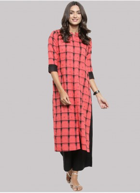 Rayon Party Wear Kurti in Pink