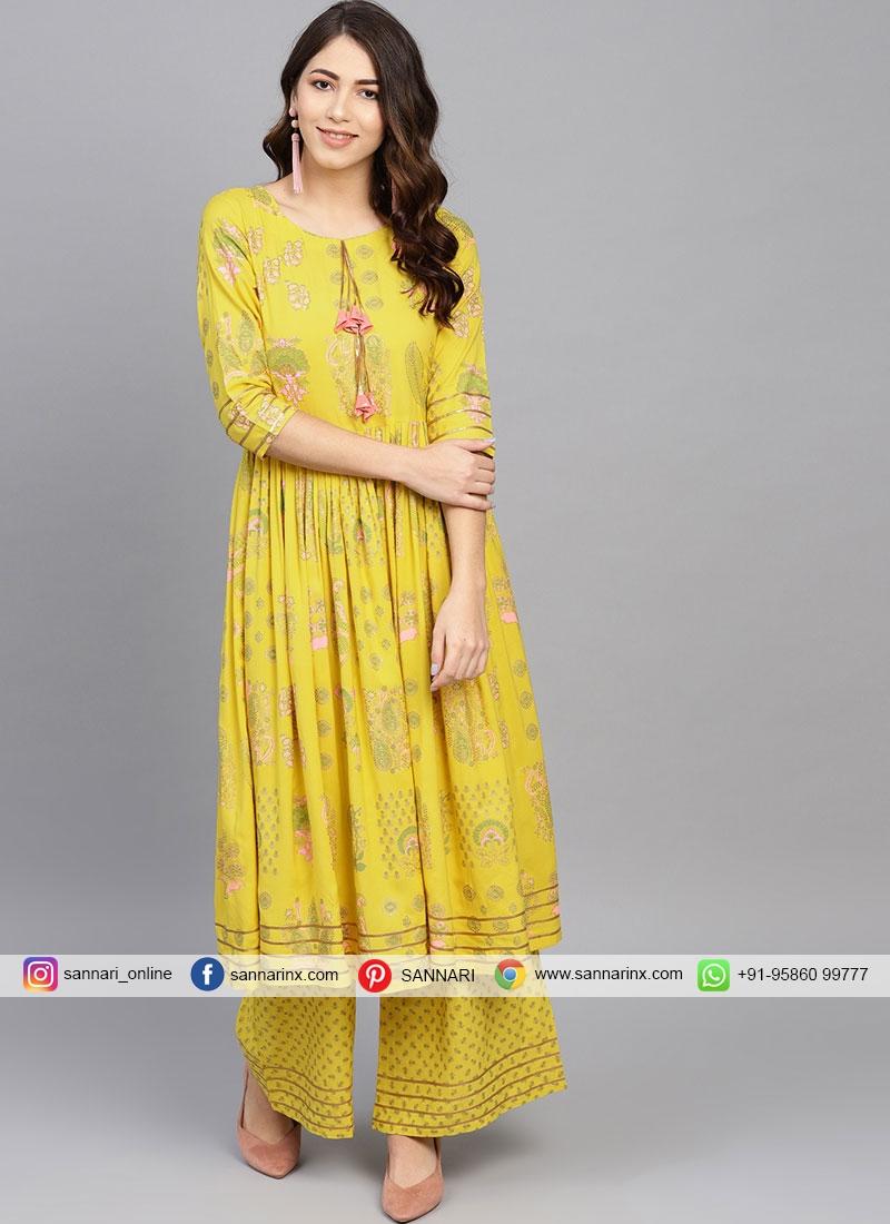 Rayon Printed Yellow Casual Kurti