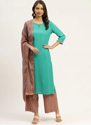 Rayon Sea Green Readymade Suit