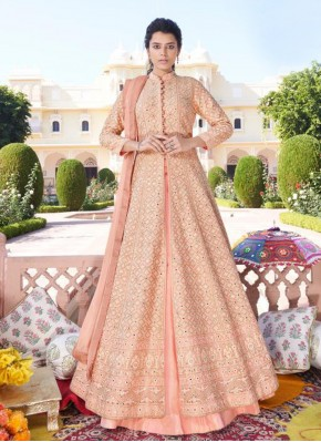 Readymade Anarkali Salwar Suit Embroidered Faux Georgette in Peach