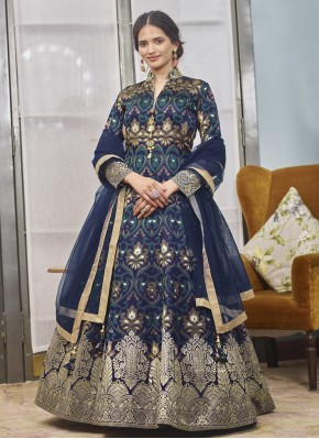 Readymade Anarkali Salwar Suit Handwork Jacquard in Navy Blue