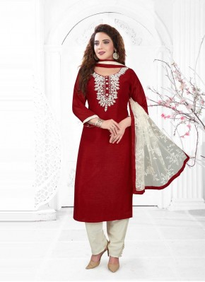 Readymade Suit Embroidered Poly Silk in Maroon