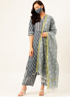 Readymade Suit Print Cotton in Grey