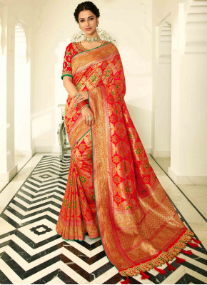 Red and Golden Banarasi Silk Traditional All Over Woven Saree