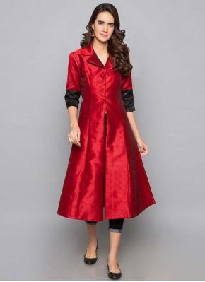 Red Art Silk Fancy Party Wear Kurti