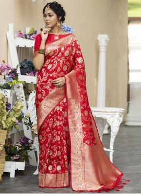 Red Banarasi Silk Mehndi Designer Traditional Saree