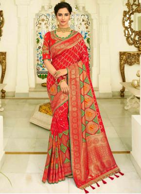Red Banarasi Silk Traditional All Over Patola Print Woven Saree