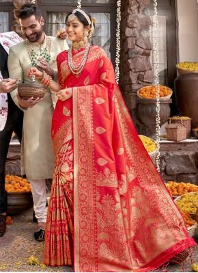 Red Banarasi Silk Weaving Designer Saree