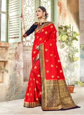 Red Banarasi Silk Woven Traditional Designer Saree