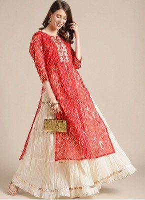 Red Blended Cotton Party Wear Kurti