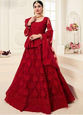 Red Bridal Net Designer A Line Lehenga Choli